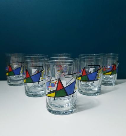Midcentury Retro zestaw szklanki kieliszki 18 sztuk rasowe Lata 60te