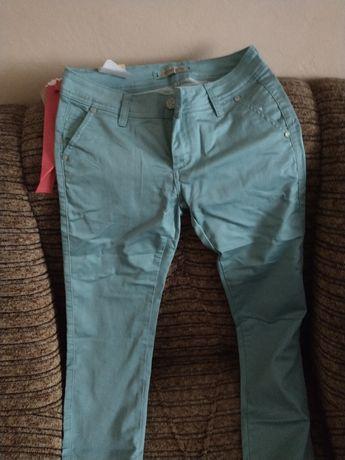 Spodnie rurki damskie turkus