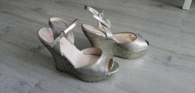 Koturny Catwalk deichmann brokat złote srebrne sandały 37