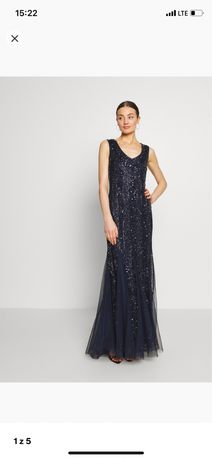 Lace & beads marie maxi sukienka balowa navy