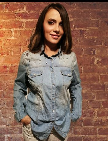 Koszula jeansowa z perełkami