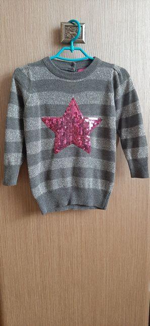 Модна кофта (светр, туніка з паєтками) та теплі штани на зріст 74 см