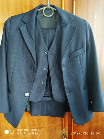 Костюм-тройка школьный брюки пиджак жилет