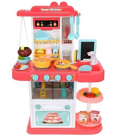 Kuchnia zabawkowa dla dzieci 72cm różowa + para