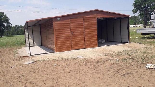 Garaż blaszany garaże blaszak 6x5 + 1.5m wiaty Dąb poziom PRESTIGE