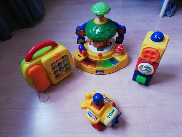 Zestaw zabawek edukacyjnych dla dzieci od różnych firm.