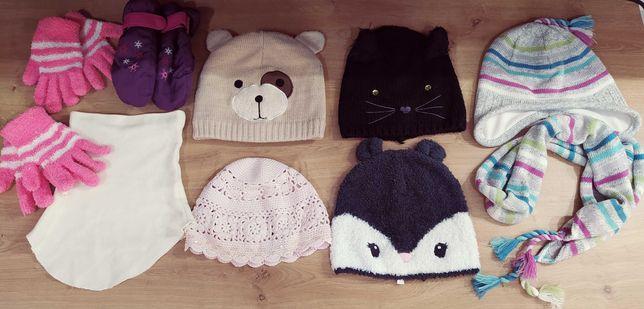 Zestaw czapek, rękawiczek, szalik,komin na dziewczynke 3-6 lat
