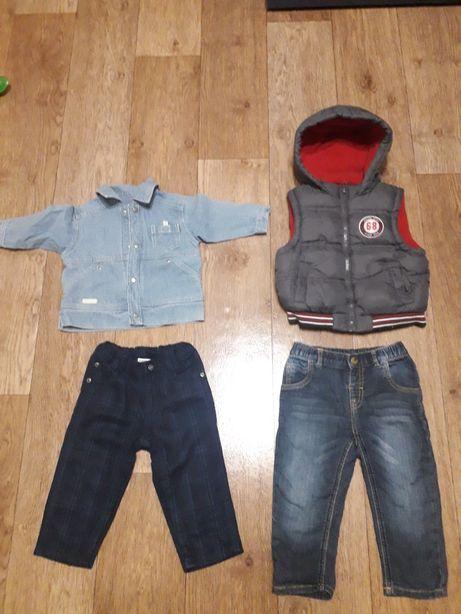 Штаны, теплая флисовая жилетка, джинсовая куртка