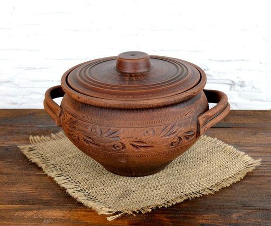 Горшок 2,5л с ручками и узором из красной керамики, глиняная посуда