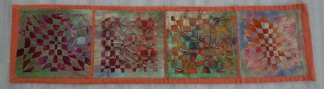 Sygnowany artystyczny panel obrusek ręcznie robiony - patchwork