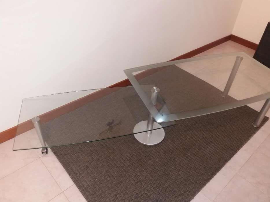 Mesa de vidro dupla e dobrável extensível