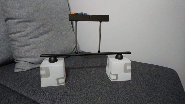 Żyrandol/lampa wisząca czarna ze szklanymi białymi abażurami