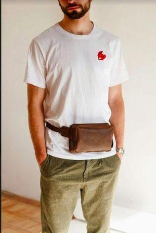 Мужская кожаная сумка, бананка, барсетка, бесплатная доставка