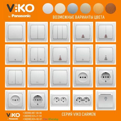 Выключатели, розетки, светорегуляторы (диммеры), рамки VIKO