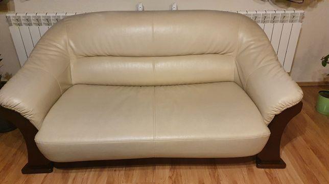 Sofa z ekoskóry dwuosobowa rozkładana z fotelami