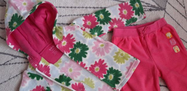 Komplet polarowy bluza i spodnie dla dziewczynki róż. 80, 5.10.15
