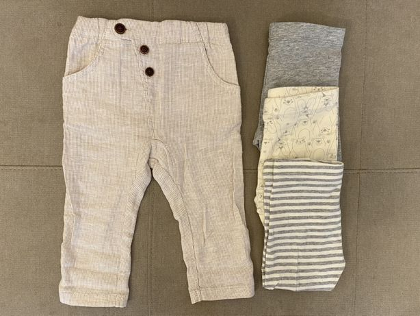 Spodnie i komplet trzech par legginsów Lupilu