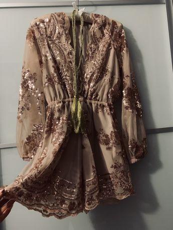 Ромпер блестящий xs-s новый, комбинезон, платье в пайетках