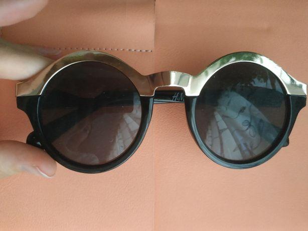 h&m okulary przeciwsłoneczne czarne złote lenonki