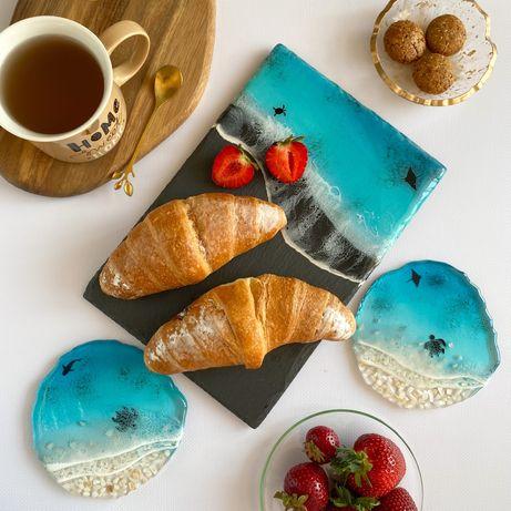 Доска для подачи закусок каменная тарелка