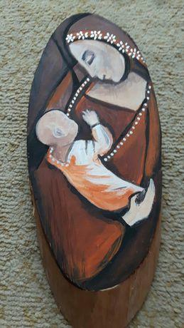 Anioł Miłości obraz malowany ręcznie na drewnie rękodzieło