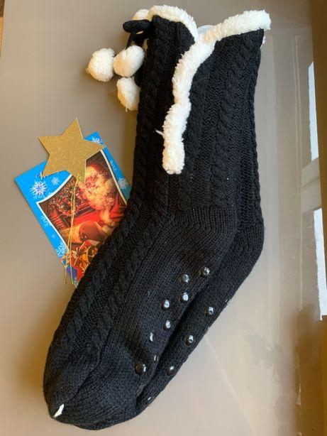 Skarpetki zimowe z futerkiem, czarne, antypoślizgowe, USA