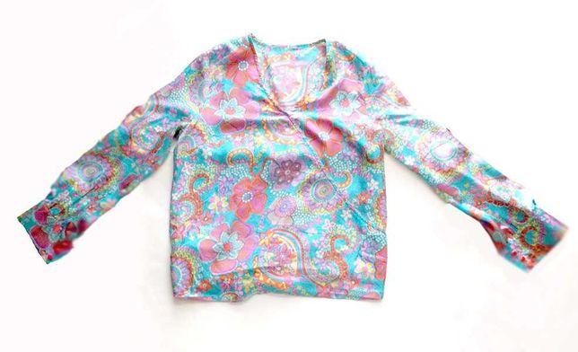 boho bluzka, kolorowa bluzka z jedwabiu, jedwabna bluzka