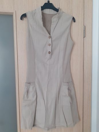 Beżowa krótka sukienka bez rękawów