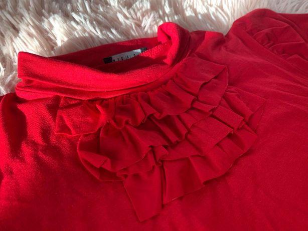Bluzka z falbanką przy dekolcie - czerwona - JAK NOWA! - Mohito