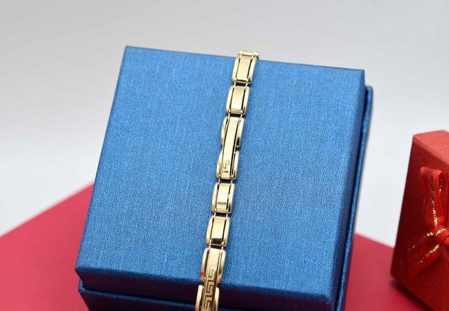 Złota okazała bransoleta wzór GRECKI MEANDER p. 585