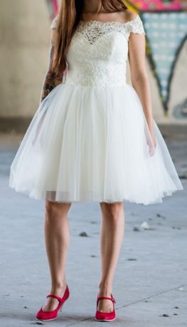 Suknia ślubna retro krótka 36 S