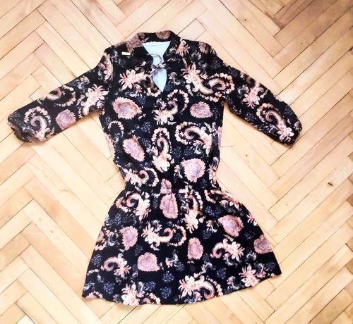 Sukienka jesienna zwiewna na gumkę boho wzory