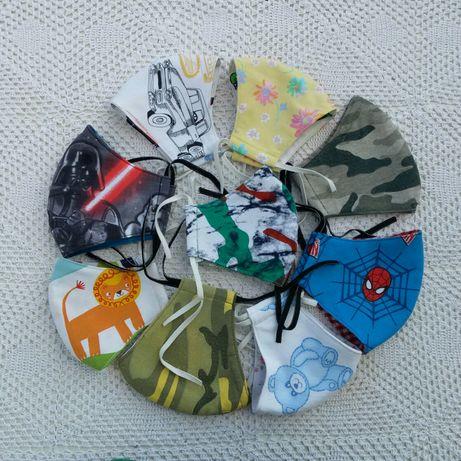 Kolorowe maseczki dwustronne wielokrotnego użytku dla dzieci i dorosły