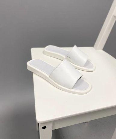 Белые кожаные шлепки 37р