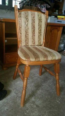 Krzesło dębowe solidne z odpinanym poszyciem oparcia Niemieckie wys 90