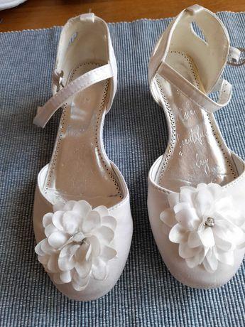 Buty buciki białe balerinki komunia komunijne 32