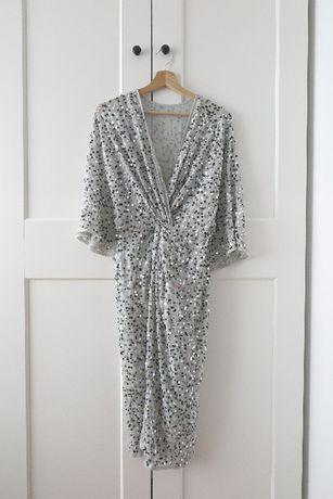 Sukienka zdobiona cekiny midi szara ASOS