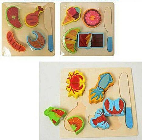 Продукты на липучках деревянные набор продуктов на липучке