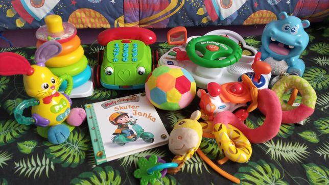 Zestaw zabawek dla malucha np. królik,piłka, ciuchcia, książka, hipcio