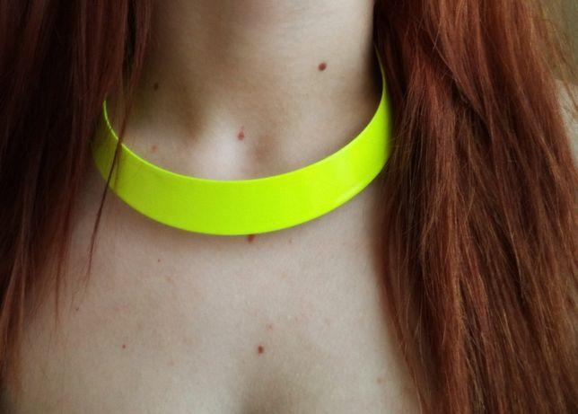 naszyjnik limonkowy neonowy metalowy