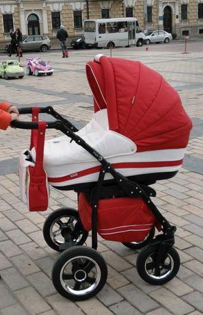 Детская коляска Adamex Mars 2 в 1красная с белым