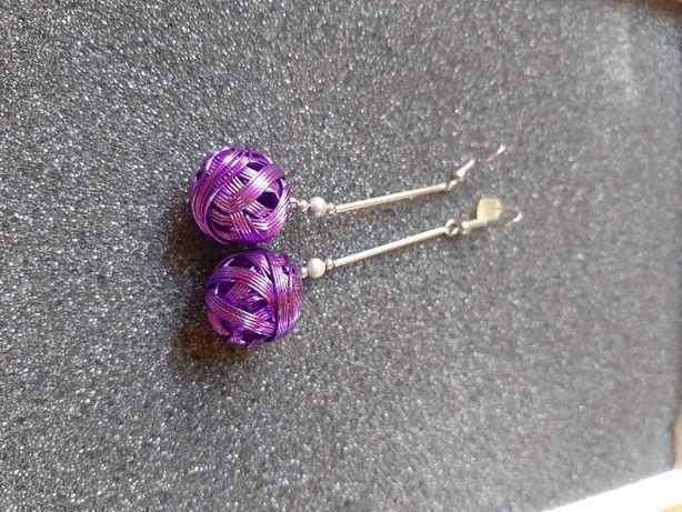 Kolczyki fioletowe plecione kule