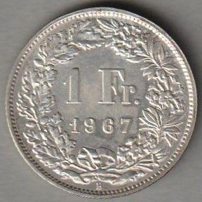 moneta Szwajcaria 1 frank 1967 - srebro - stan menniczy -