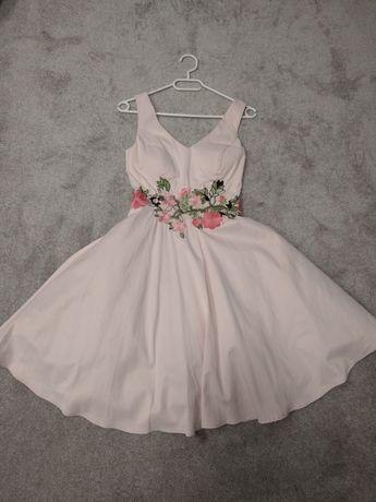 Elegancka wieczorowa sukienka wesele komunia chrzest różowa pin-up 36