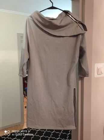 Szara sukienka z zamkiem