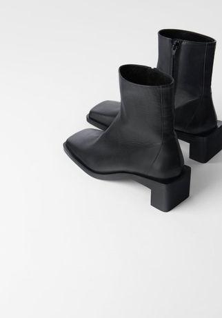 Кожаные ботильоны на среднем каблуке с квадратным мысом Zara