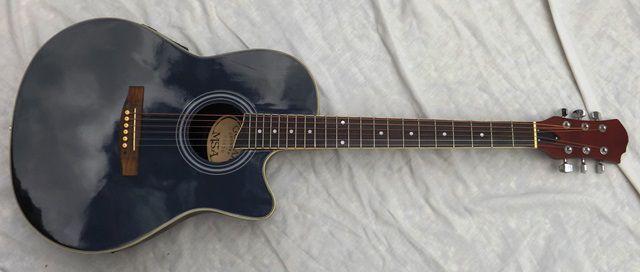 Guitarra roundback tipo ovation castanha clássica