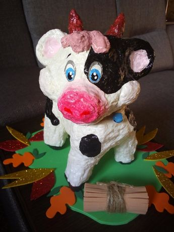 Осень поделка дерево свинья гриб корова бык
