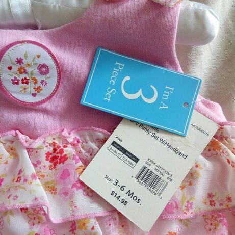 комплект: платье сарафан, трусики и повязка для малышки