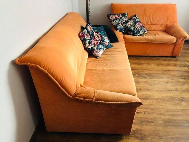 2 sofy/ kanapy welurowa ciepła pomarańcz